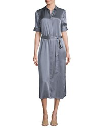 Atm Anthony Thomas Melillo Striped Silk Charmeuse Midi Shirtdress Navy