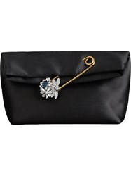 Burberry The Small Pin Clutch In Satin Black