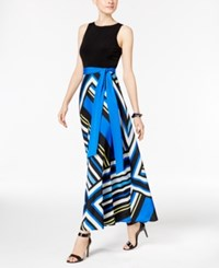 Inc International Concepts Printed Maxi Dress Only At Macy's Blue Strip