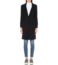 Sandro Single Breasted Wool Blend Coat Navy Blue