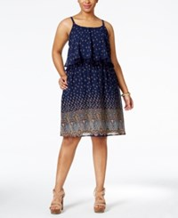 Eyeshadow Plus Size Printed Flounced Fit And Flare Dress Moonlight