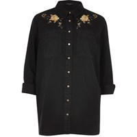 River Island Womens Black Denim Floral Embroidered Western Shirt
