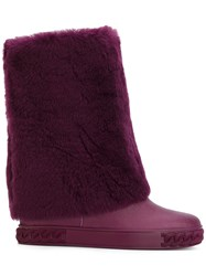 Casadei Shearling Chaucer Boots Women Sheep Skin Shearling Polyester Rubber 37 Pink Purple