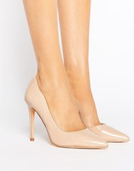 London Rebel Open Waisted Court Shoe Nude Patent Beige