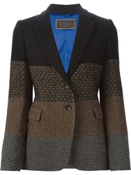 Etro Patchwork Tweed Blazer Brown