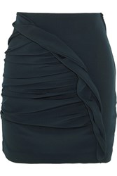 Carmen March Basilico Ruched Crepe Mini Skirt Navy