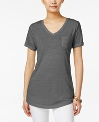 Style And Co Petite Burnout V Neck T Shirt Only At Macy's Deep Black