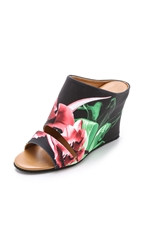 Clover Canyon Silent Flower Black Wedge Mules Multi