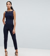 Vesper Square Neck Lace Tailored Jumpsuit With Tie Back Navy