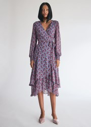 Farrow Nicole Wrap Dress In Blue Red Size Small Blue Red