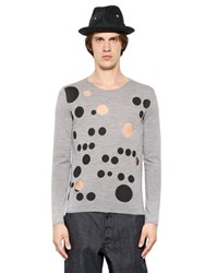 Comme Des Garcons Cutout And Dot Printed Fine Wool Sweater