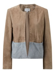 Jigsaw Colour Block Suede Jacket Cream