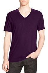 James Perse Men's Short Sleeve V Neck T Shirt Eggplant