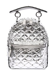 Valentino Garavani Mini Spike Laminated Leather Backpack Silver