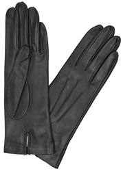 Dents Black Silk Lined Leather Gloves