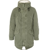 Yves Salomon Shearling Trimmed Hooded Canvas Down Parka Green