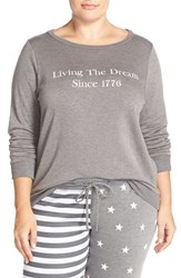 Plus Size Women's Make Model 'Americana' Crewneck Pullover Grey Magnet Sentiment