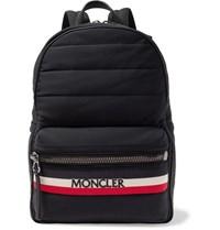 Moncler New George Webbing And Leather Trimmed Quilted Shell Backpack Black