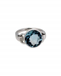 Poiray Indrani 18K White Gold Round Blue Topaz Ring