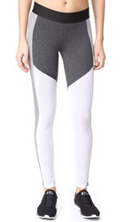 Heroine Sport Racing Leggings Charcoal Chalk Rib White