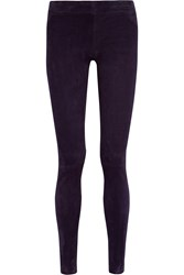The Row Moto Stretch Suede Leggings