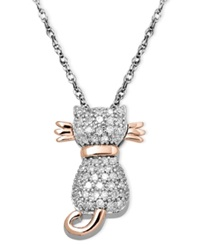 Macy's Diamond Cat Pendant Necklace In 14K Rose Gold And Sterling Silver 1 5 Ct. T.W.