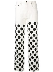 House Of Holland Polka Dot Boyfriend Jeans White