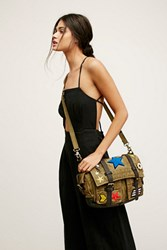 Free People Womens Washed Military Messenger