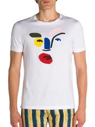 Fendi Leather Inlay Picasso Face Tee White Black