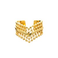 Azuni London Etrusca Wide Wave Ring Gold