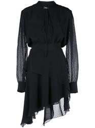 Amiri Asymmetric Dotted Dress Black