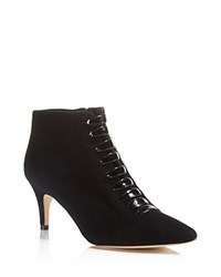 Delman Lasha Suede And Patent Leather Booties Black