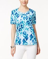 Alfred Dunner Printed Short Sleeve Top Blue White