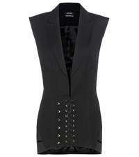 Anthony Vaccarello Wool Dress Black