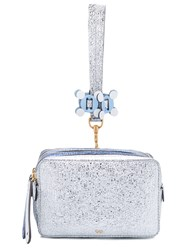 Anya Hindmarch 'Stack' Clutch Women Calf Leather One Size Blue