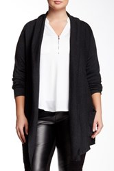 Dex Pocketed Open Cardigan Plus Size Gray