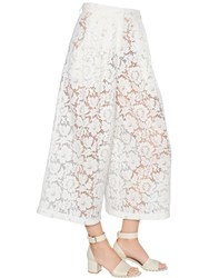 Valentino Wide Leg Cropped Lace Pants