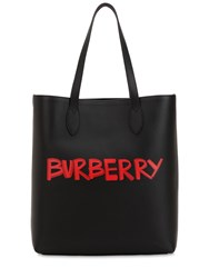 Burberry Graffiti Smooth Leather Tote Bag Black
