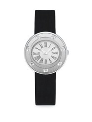 Piaget Possession Diamond 18K White Gold And Satin Strap Bracelet Watch Black