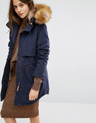 Parka London Lara Classic Jacket With Faux Fur Lined Hood Bright Navy