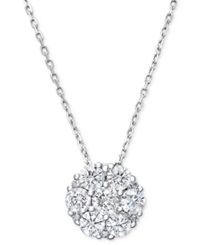 Macy's Diamond Flower Cluster Pendant Necklace In 14K White Gold 1 4 Ct. T.W.
