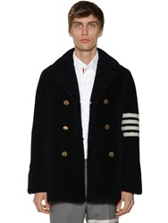 Thom Browne Unconstructed Shearling Fur Coat W 4 Bar Navy