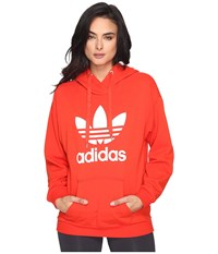 Adidas Trefoil Hoodie Core Red 1 Women's Long Sleeve Pullover
