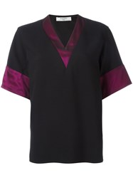 Lanvin Block Trim V Neck T Shirt Black