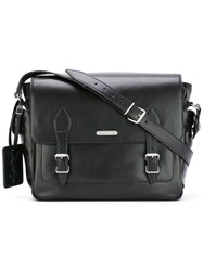 Saint Laurent Double Strap Satchel Men Calf Leather One Size Black