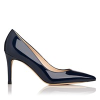 Lk Bennett L.K. Floret Patent Leather Court Shoes Navy