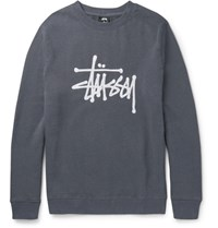Stussy Tuy Embroidered Fleece Back Cotton Blend Jerey Weathirt Anthracite