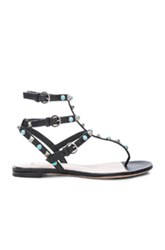 Valentino Rockstud Leather Rolling Thong Sandals In Black