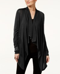 Inc International Concepts Petite Open Front Draped Illusion Cardigan Only At Macy's Black