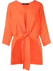 Andrea Marques Front Lace Up Detail Tunic Yellow And Orange